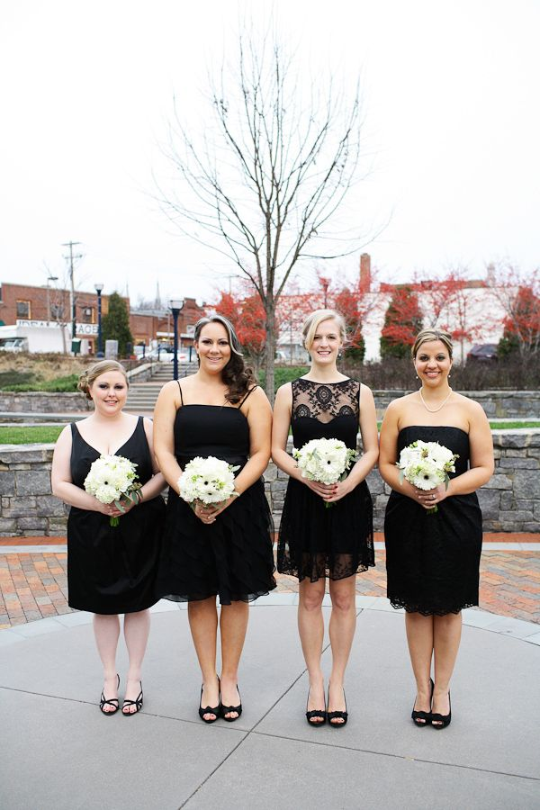 b3d8480ba9a Black mismatched bridesmaid dresses  flatter everyone in your bridal party!  Doing this so it s one less thing to worry about