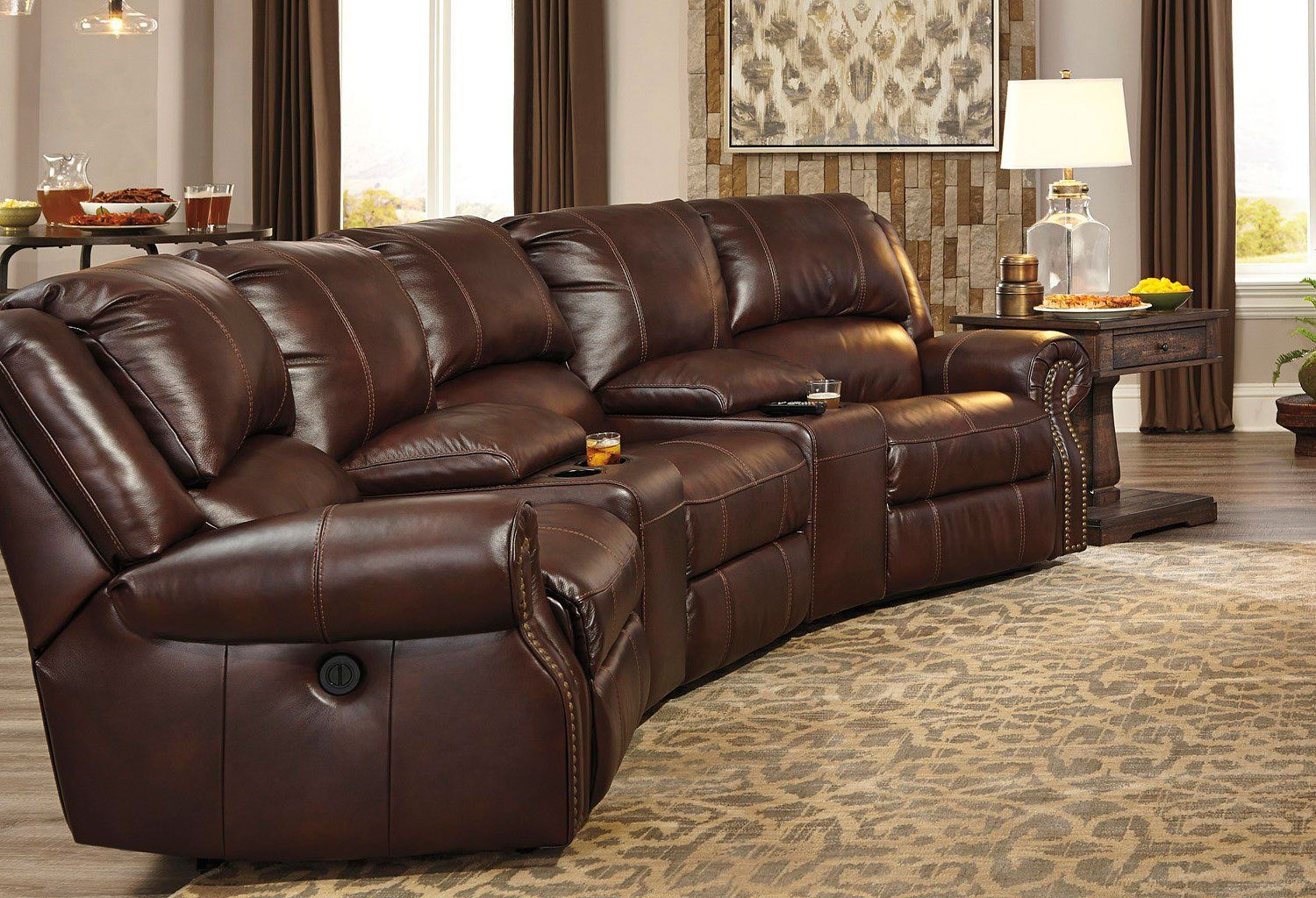 Collinsville Chestnut Reclining Home Theater Sectional With