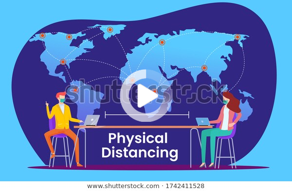 Business Concept Physical Distance Social Distance Stock Vector (Royal