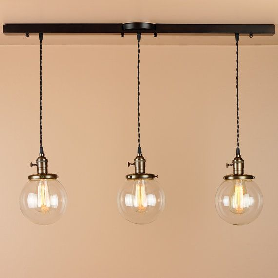 3 Light Chandelier - Linear Pendant Lights - Lighting w/ Clear Glass Globes - Oil Rubbed Bronze Finish - Edison Light Bulbs & 3 Light Chandelier - Linear Pendant Lights - Lighting w/ Clear ... azcodes.com