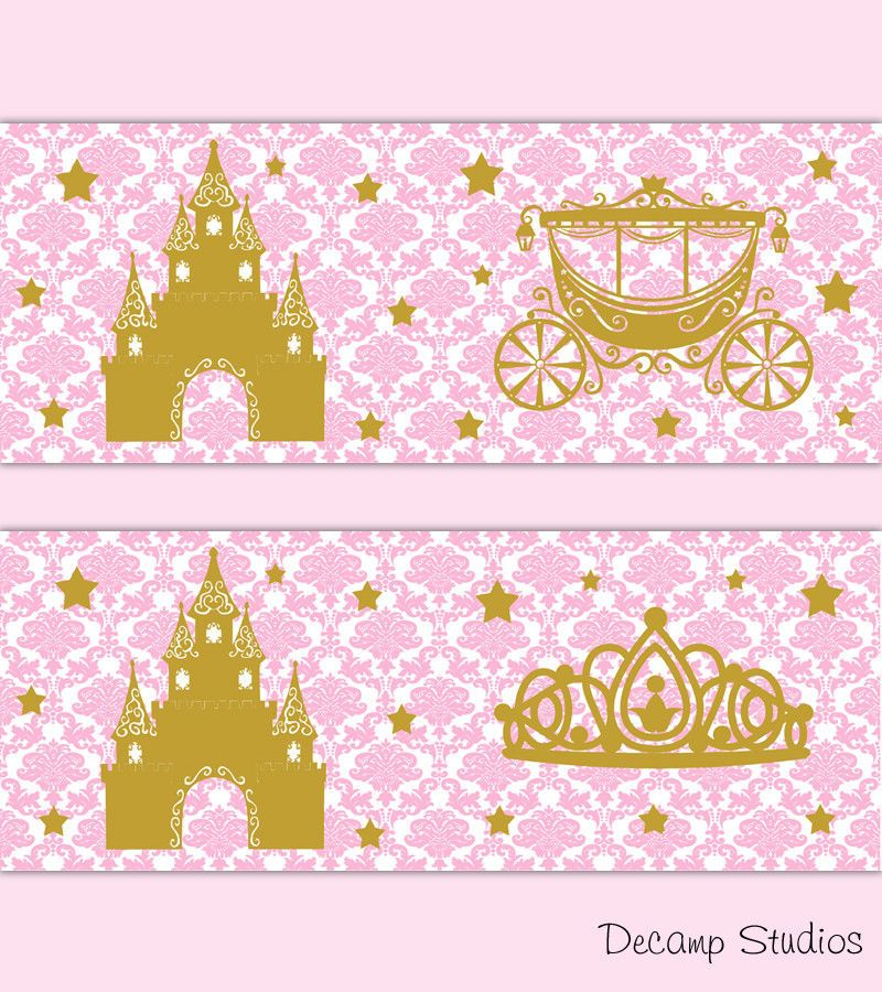 Princess Crown Nursery Pink Gold Wallpaper Border Wall Art