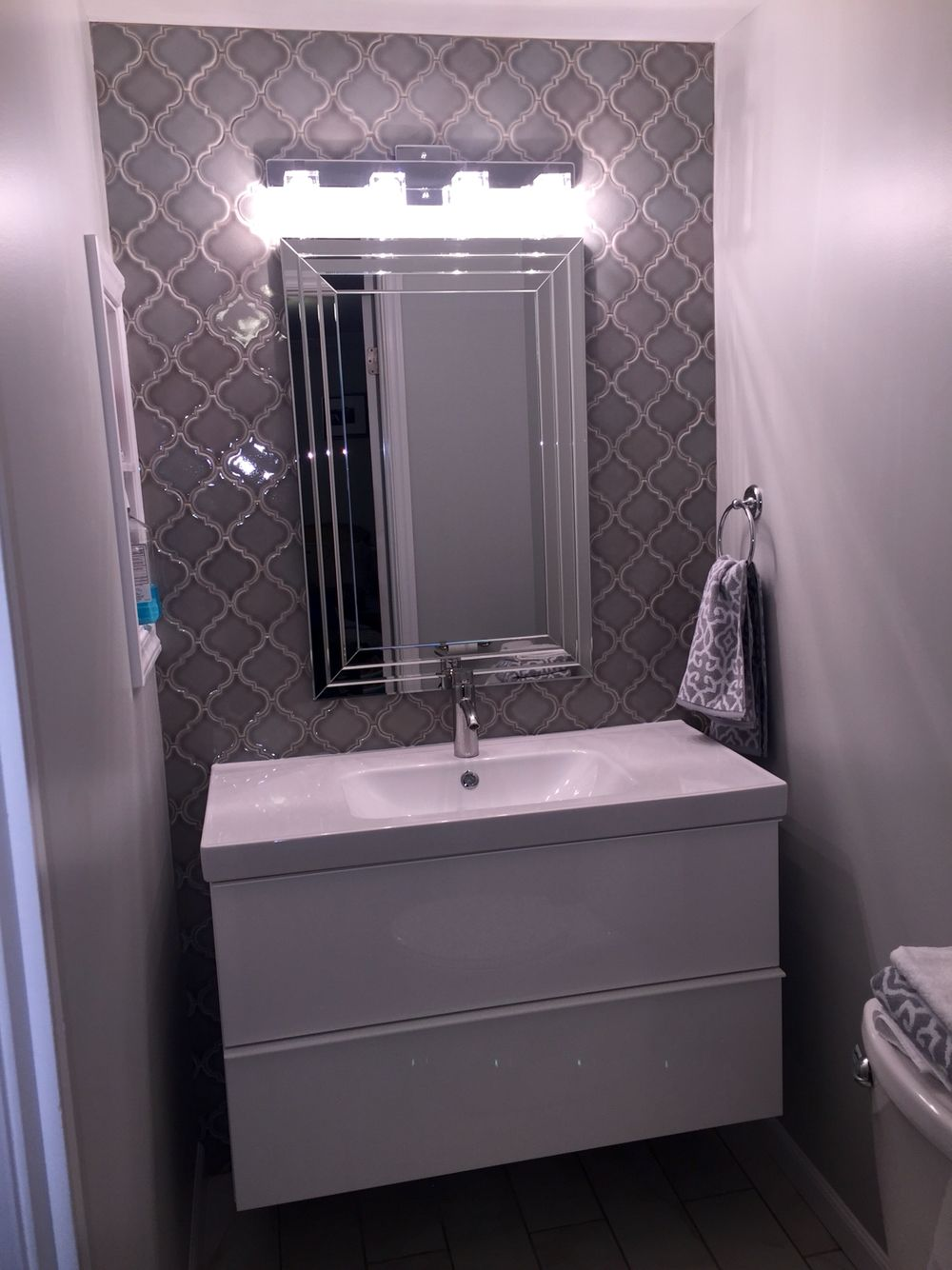 Floating Bathroom Vanity With Dove Grey Arabesque Tile