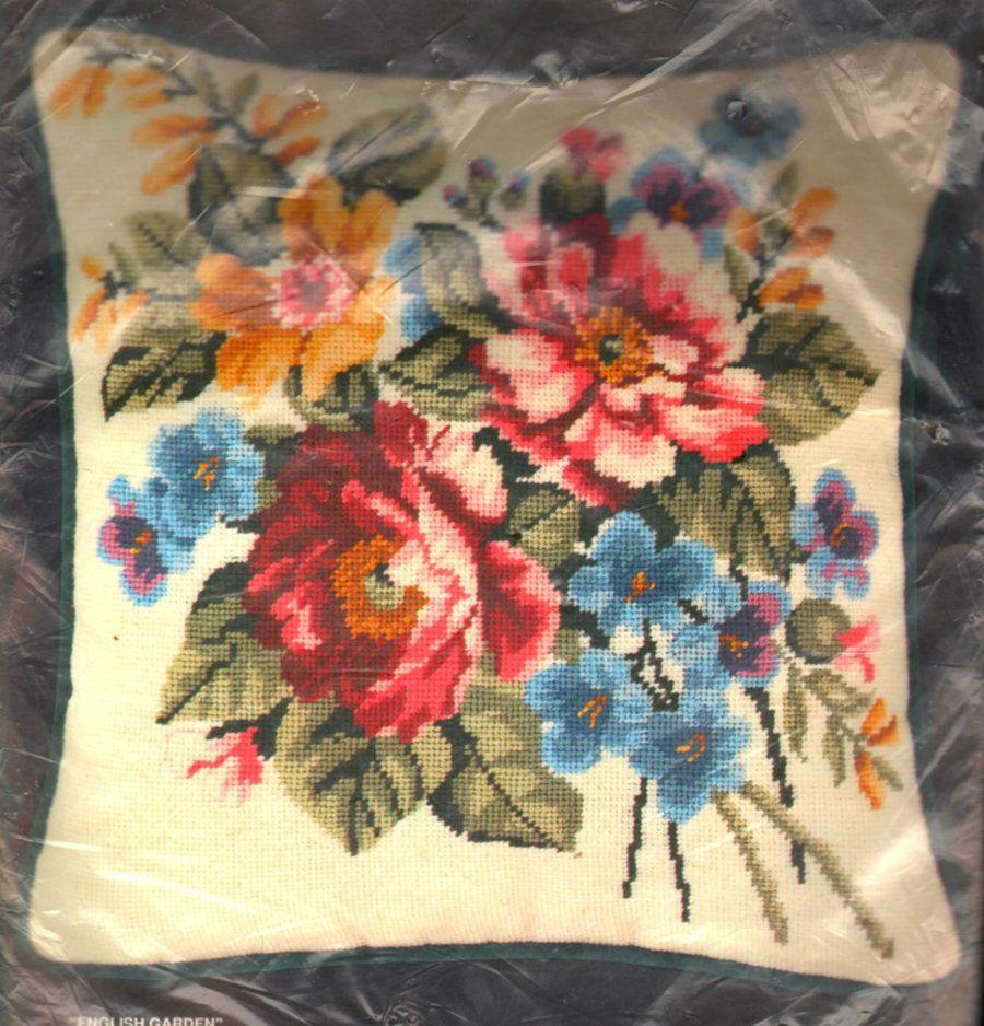Vintage Bucilla Floral English Garden Needlepoint Kit Sealed