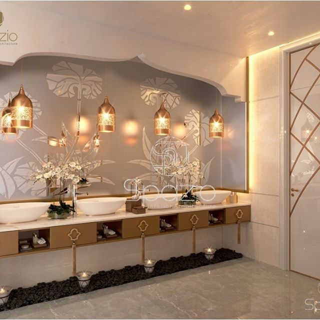 Powder room in The New Arabic Style ⠀ The design is ...