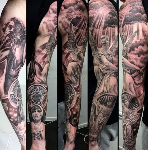 75 Religious Sleeve Tattoos For Men - Divine Spirit Designs -   24 religious tattoo sleeve
