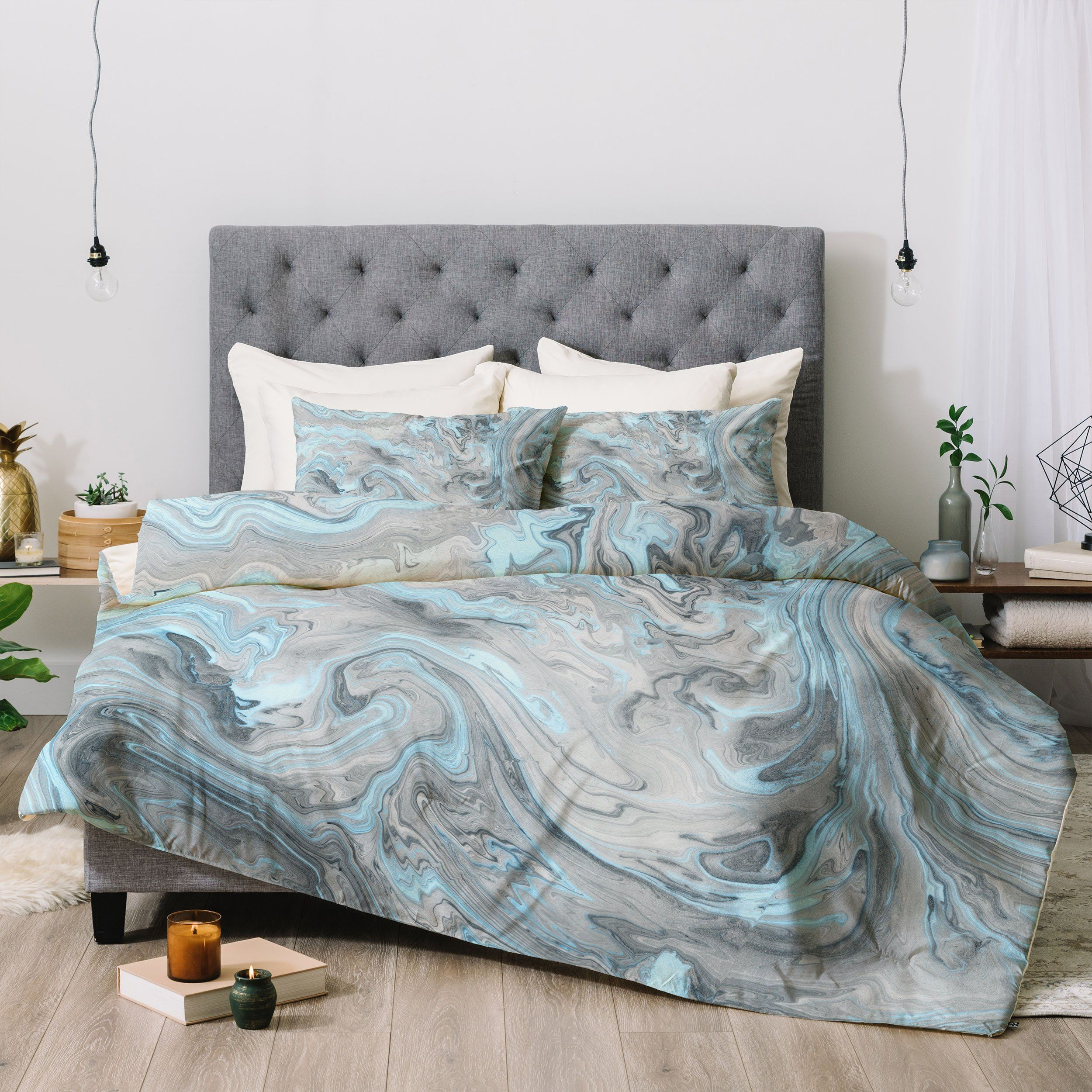 Ice Blue And Gray Marble Comforter Lisa Argyropoulos Luxury