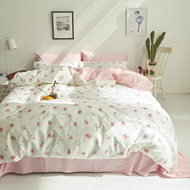 d30cb35ab83c Cute Strawberry Duvet Cover Set 100% Cotton Bedding Sets Pink Bed Sheet  Pillow Cases Twin Queen King Size Bed Linens For Home. Yesterday's price:  US $84.00 ...