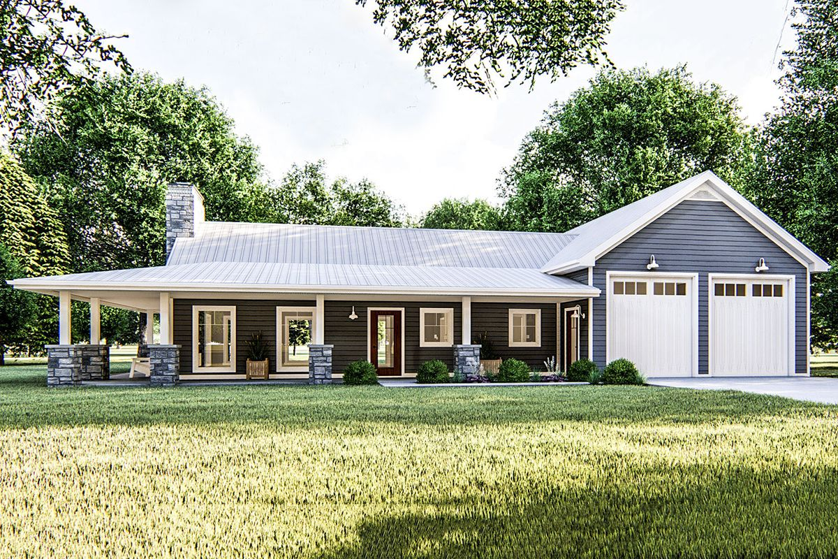 Plan 62813DJ: One Bed Post Frame Country Home Plan with Wraparound Porch