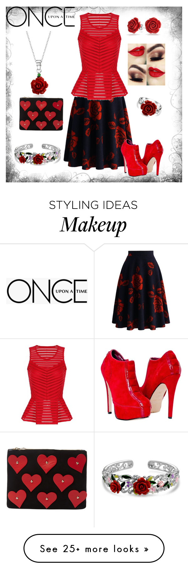 """""""Belle-OUAT roses red beauty"""" by neoclassicflorals on Polyvore featuring Bling Jewelry, Chicwish, Charlotte Olympia and Once Upon a Time"""