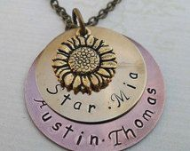 You are My Sunshine Sunflower Necklace -Personalized 4 Name Hand Stamped Necklace - S73