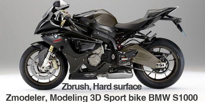 Zbrush Hard Surface Zmodeler Modeling 3d Sport Bike Bmw S1000 By
