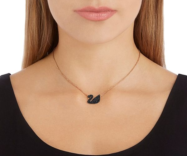 c64a989b47ca0 Iconic Swan Pendant, Black, Rose-gold tone plated | Christmas Wish ...