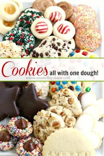 Cookies all with ONE dough  Created by Diane SAVE TONS OF TIME with this ebook on how to make a BEAUTIFUL Tray of cookies all from one batch of cookie dough I give you AL...