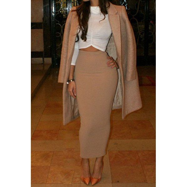 Elegant Solid Color High-Waisted Pencil Skirt For Women | High ...