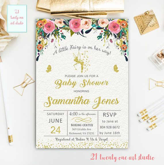 Fairy Baby Shower Invitation Watercolor