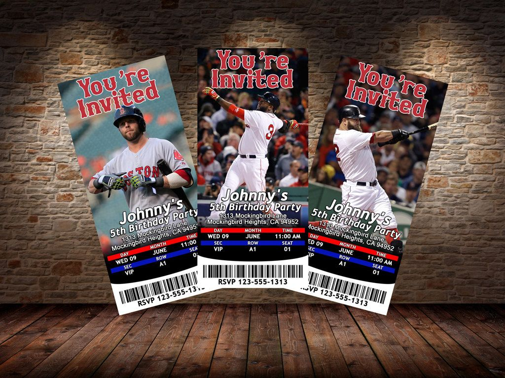 Boston Red Sox Themed Birthday Invitations