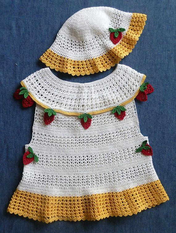 Baby Girl Dress and Bonnet 18 to 24 mo Crochet Pattern PDF | Pdf ...