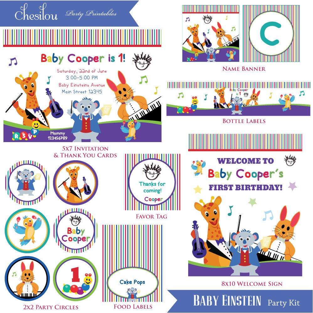 Customized Baby Einstein Birthday Invitation and Party Kit | Party ...