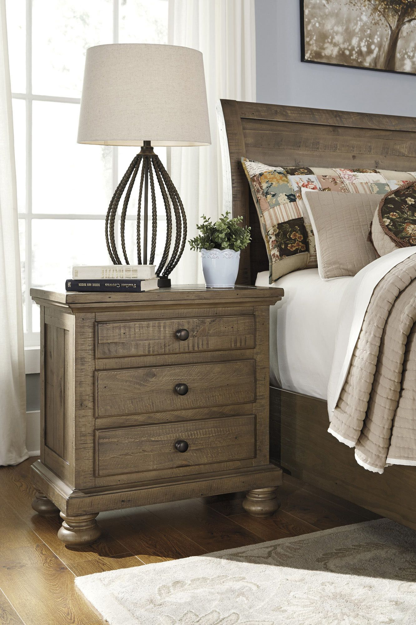 Get Your Trishley   Light Brown   Three Drawer Night Stand At Armourdale  Furniture, Kansas City KS Furniture Store.