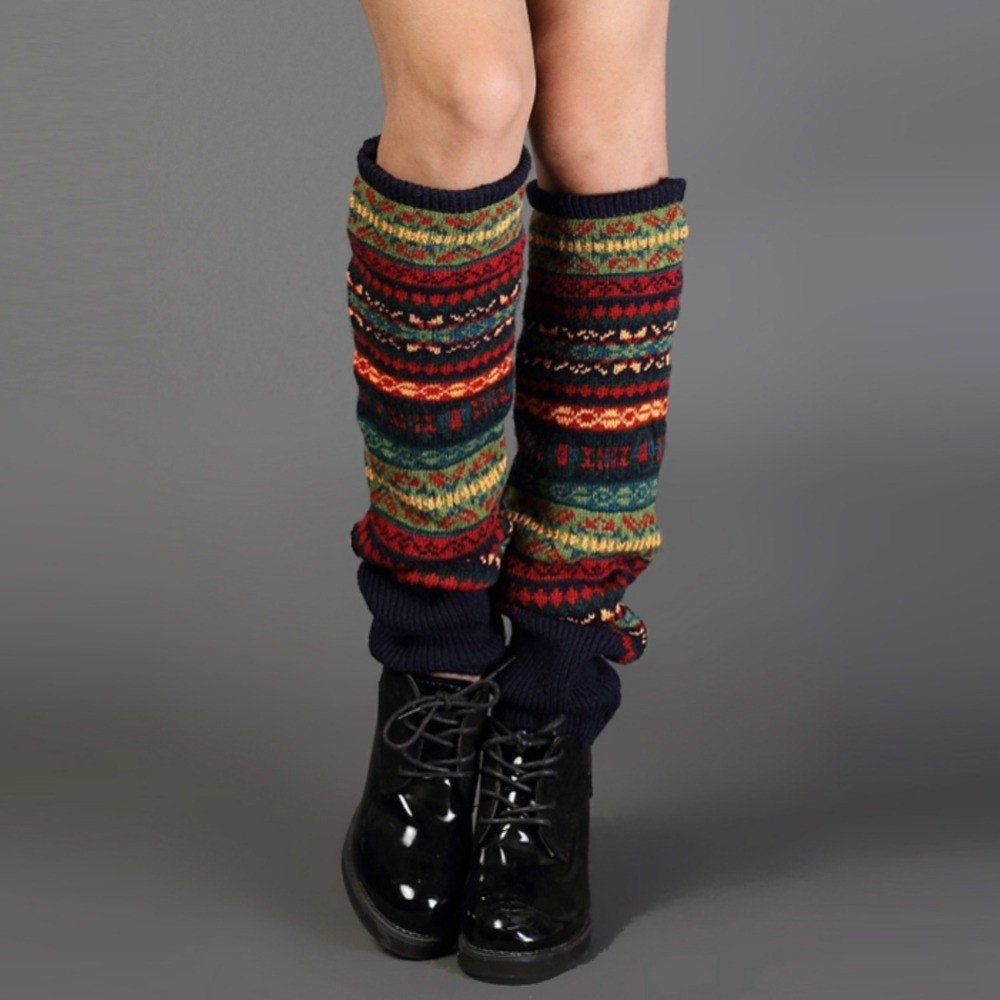 Women Bohemis Crochet Knitted Long Leg Warmers Spring Patchwork Knee High Warm Boot Socks P3