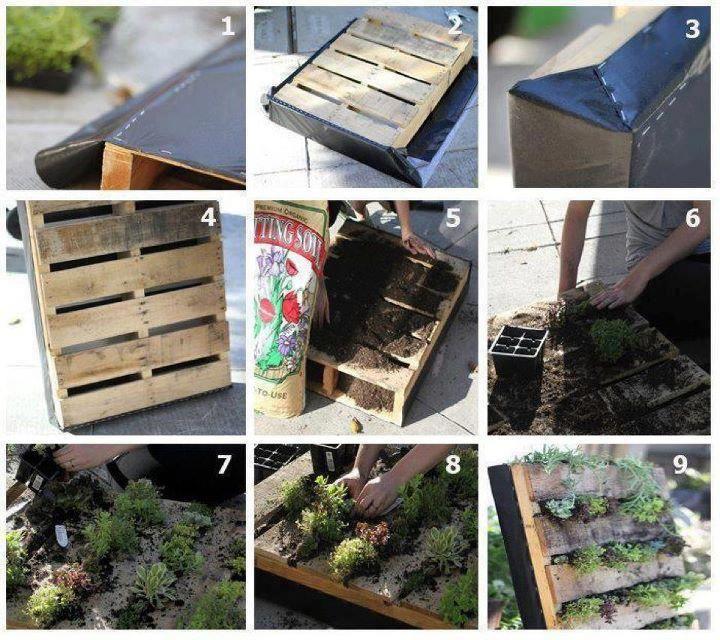 jardin vertical con tarima industrial de madera