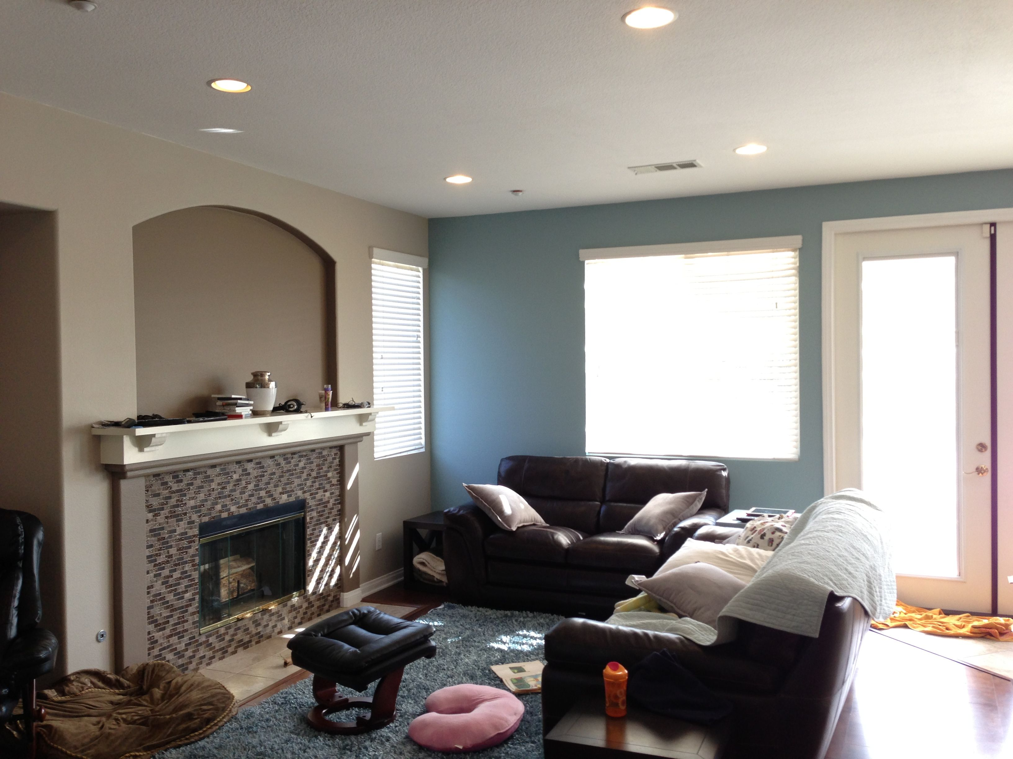 Benjamin moore paints revere pewter flagstone colorado blue perfect with the dark brown leather couches