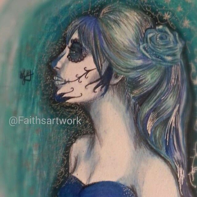 A sugarskull portrait done with prisma colored pencils and gell pins