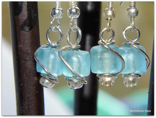 NorthShore Days.....: Sea Glass Wire Wrapped Earrings
