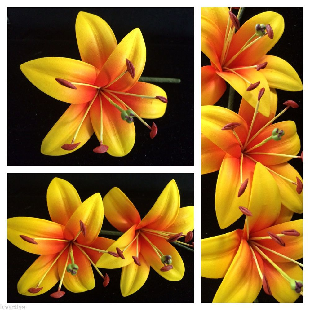 Foam Lily Flower Pinup Girl Wedding Hair Pick Yellow W Red Center