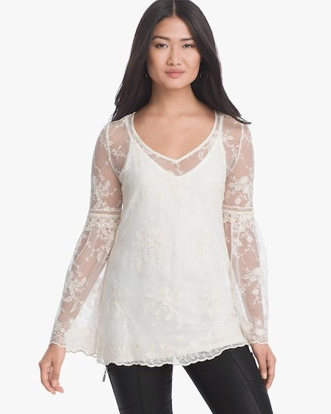 d86cdf45f5ab00 Women's Long-Sleeve Lace Mesh Top by WHBM | Products | Lace, Tops ...