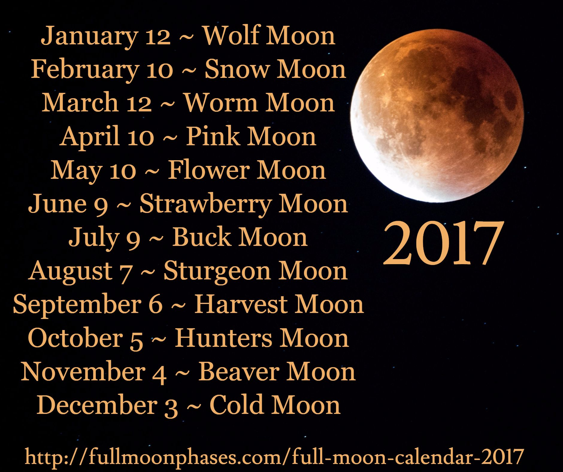 January 12 Wolf Moon February 10 Snow March Worm April Pink May Fl
