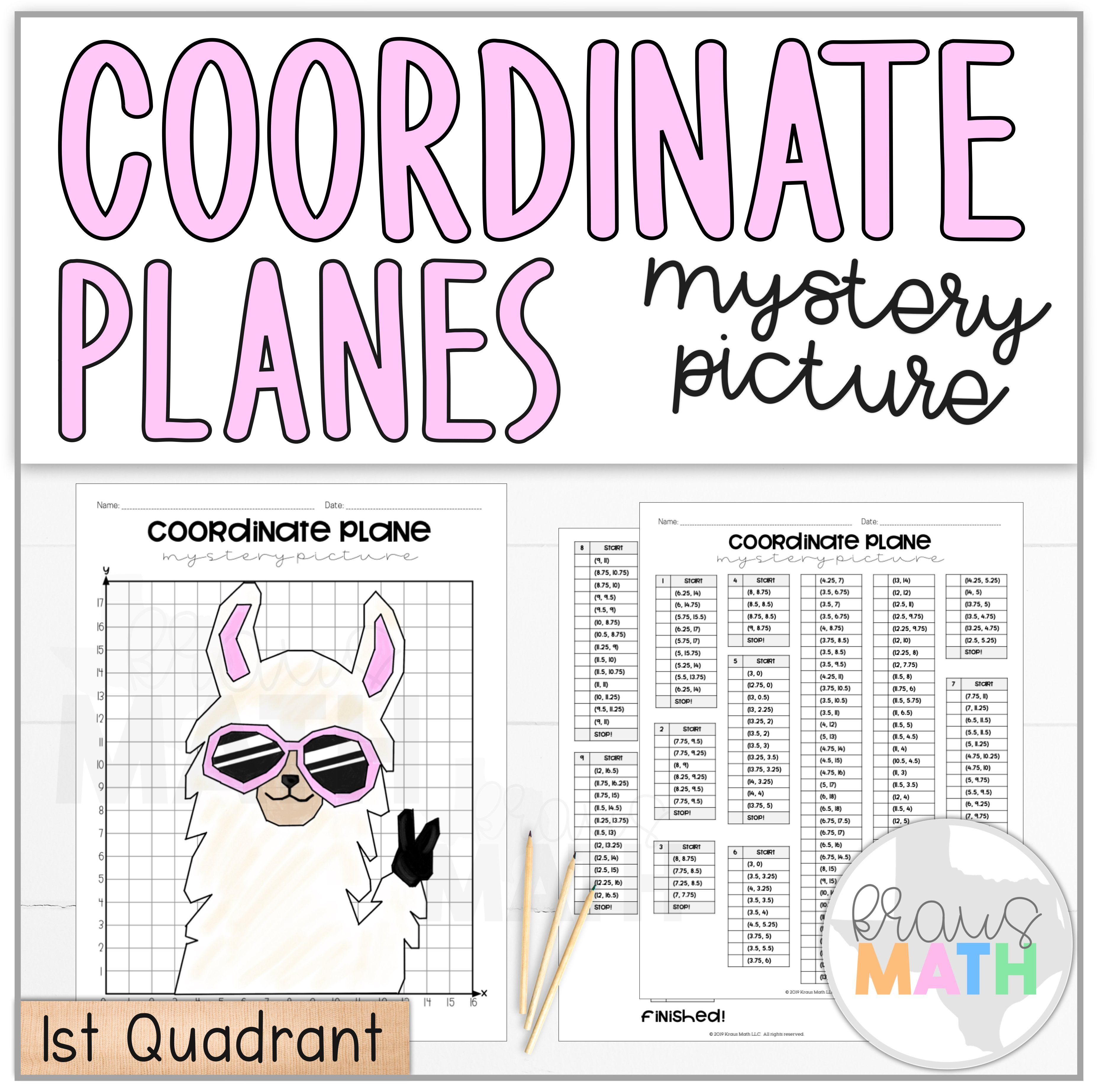 Llama Peace Out Coordinate Plane Mystery Picture 1st