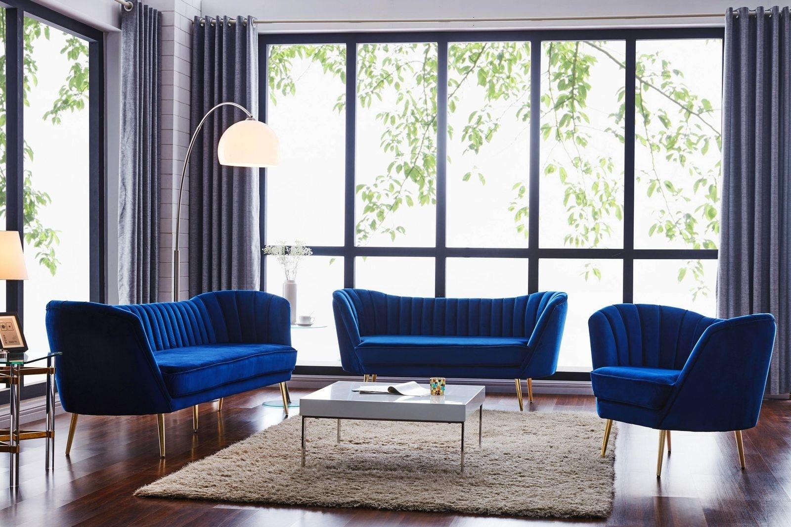 Best Meridian Margo Velvet 2 Piece Living Room Set In Navy 400 x 300