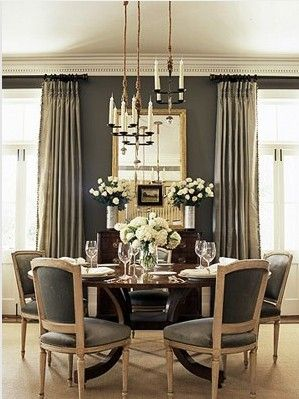 Dining Room Elements Candle Chandelier Dark Grey Walls Lighter Full Length Curtains Large Mirror On Wall Neutral Rug Home Decor And Interior