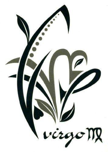 "Virgo Zodiac Sign Temporary Body Art Tattoos 2.5"" x 3.5""…"
