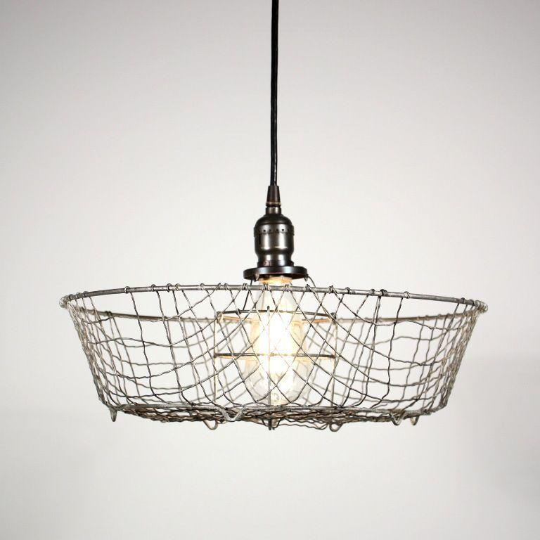 Antique Industrial One Light Basket Chandelier Vintage Industrial Lighting Eclectic Light Fixtures Industrial Light Fixtures