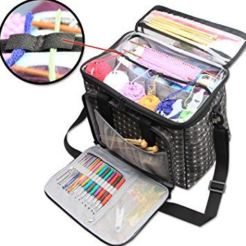 Teamoy Knitting Bag Yarn Storage Tote with Inner Divider for Yarn and Unfinished Project High Capacity Easy to Carry Crochet Hooks Knitting Needles and ...  sc 1 st  Pinterest & Amazon.com: Teamoy Knitting Tote Bag Yarn Storage Organizer with ...