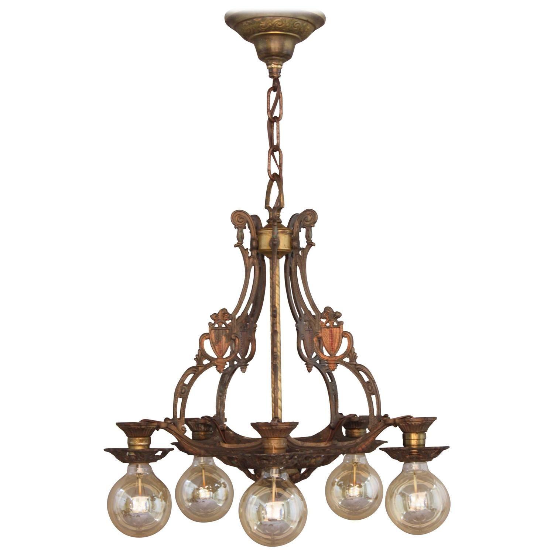 1920s polychrome downlight chandelier pendant lighting 1920s polychrome downlight chandelier arubaitofo Gallery