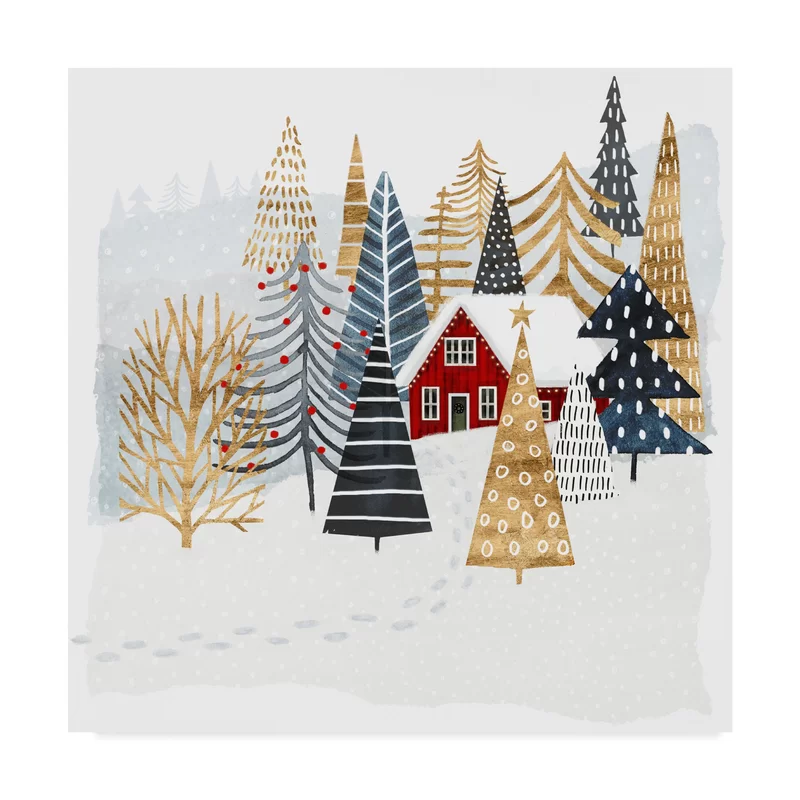 Christmas Chalet I Painting On Wrapped Canvas In 2020 Christmas Illustration Christmas Watercolor Christmas Art