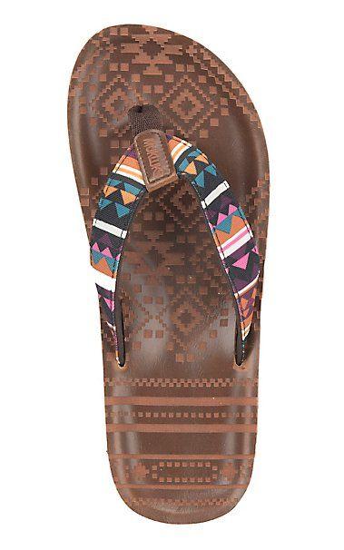 66f654072 Muk Luk Women s Brown with Southwest Pattern Strap Poppy Flip Flop ...