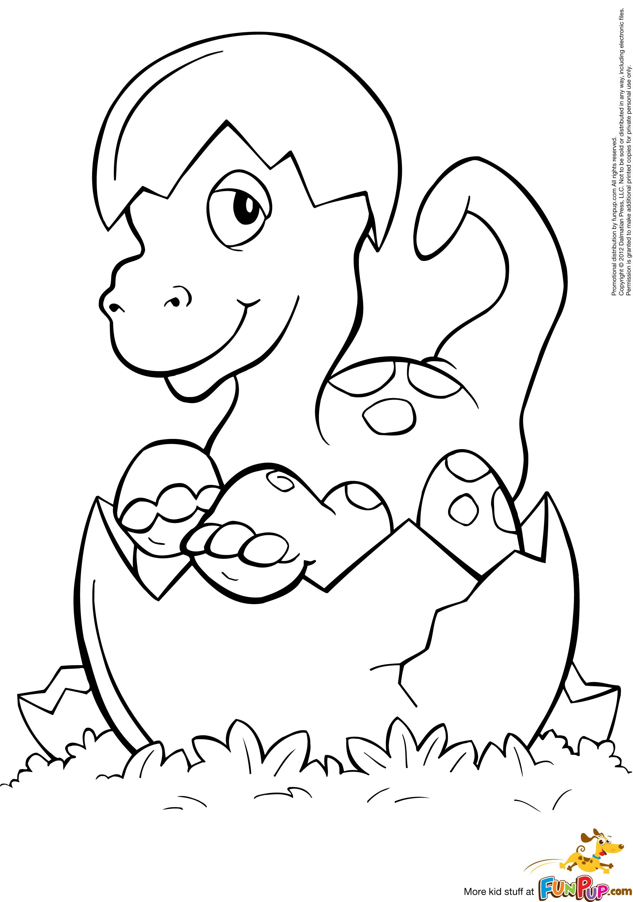 Coloring pages dinosaurs and dragons - Hatched Baby Dino Coloring Page