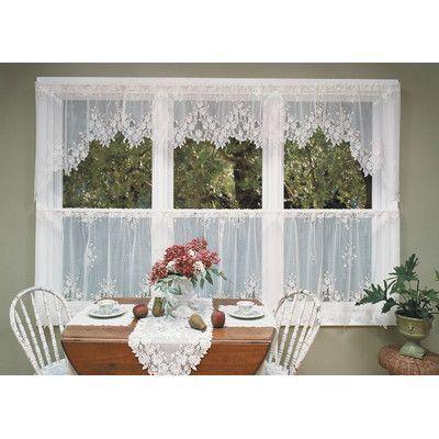 Heritage Lace Tea Rose Swag Tier Curtain Color: