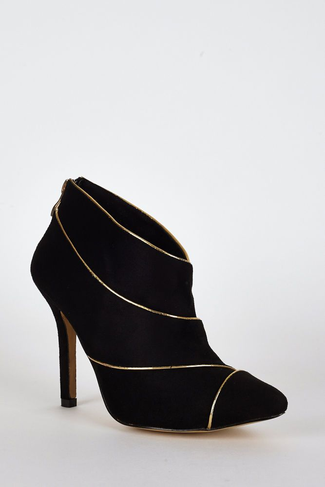 Women s  Suedette Gold Trim High Heel Ankle Boots In Black