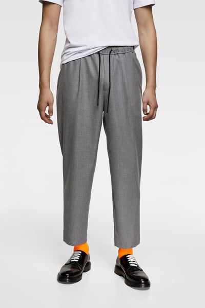 ZARA Male Technical jogging pants Dark gray Xl