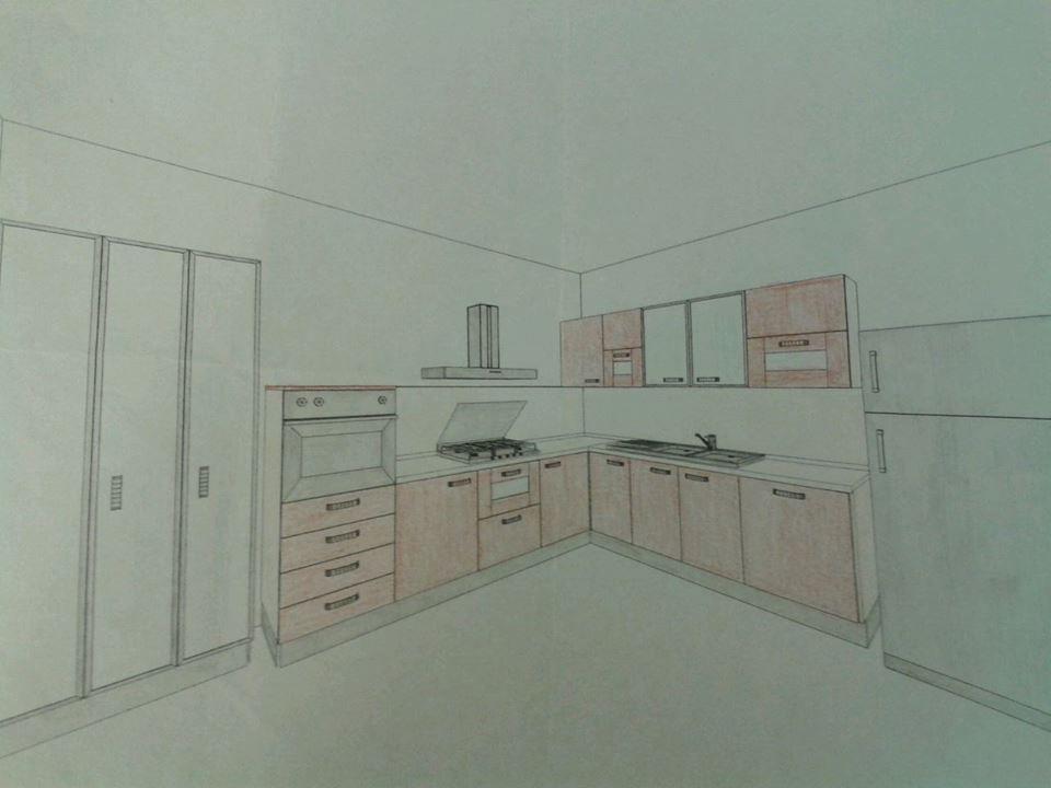 Progetto cucina con colonne dispensa con ante a vetro e frigo ...