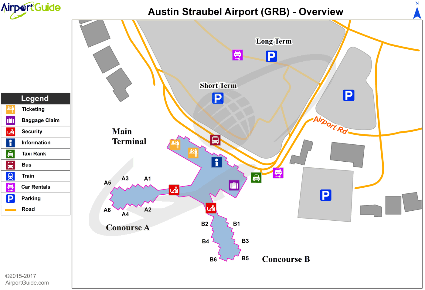 Green Bay Green Bay Austin Straubel International Grb Airport Terminal Map Overview Airport Map Airport Guide Airport
