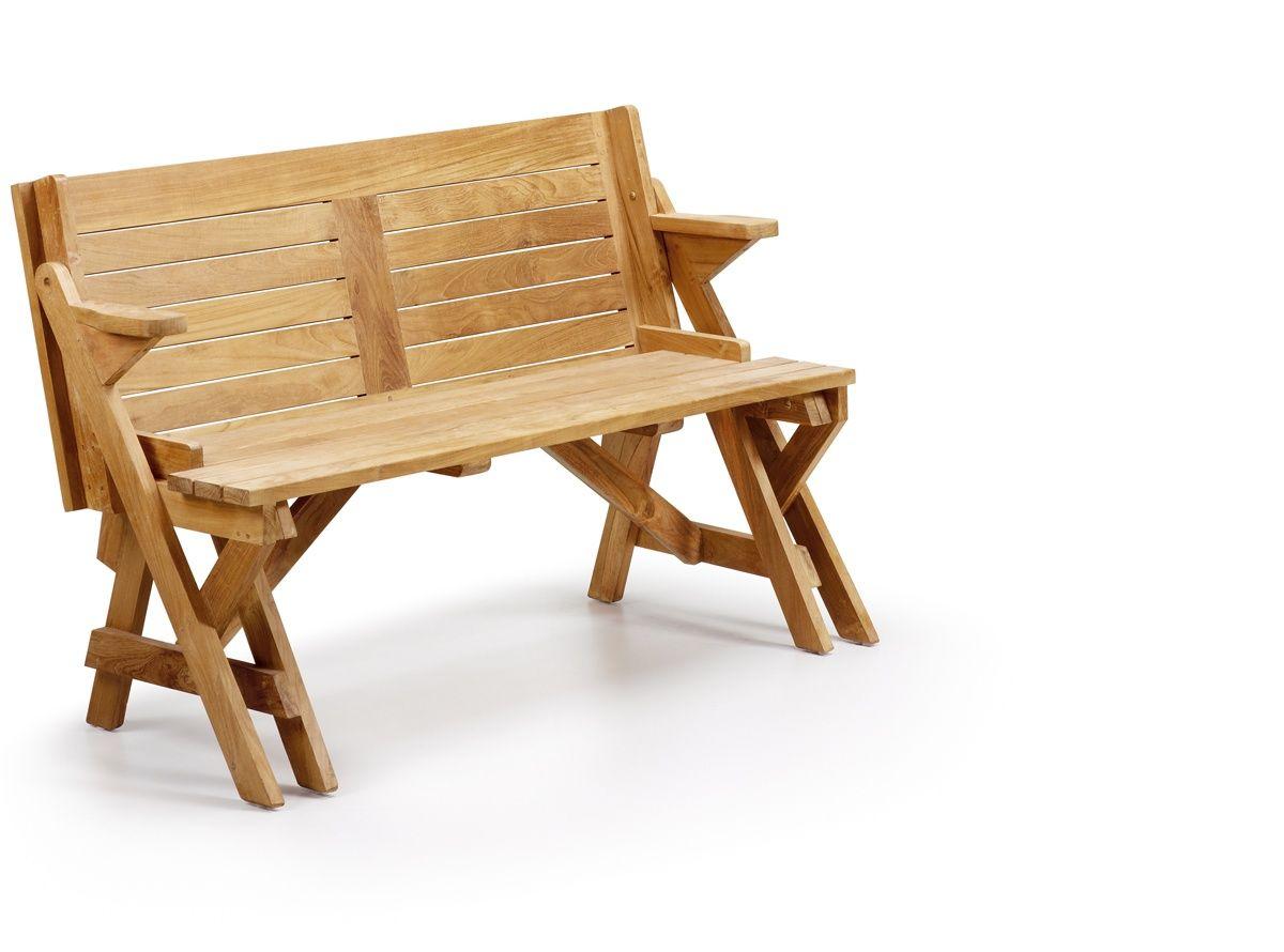 Banco de jardín con brazos convertible en mesa, realizado en madera ...