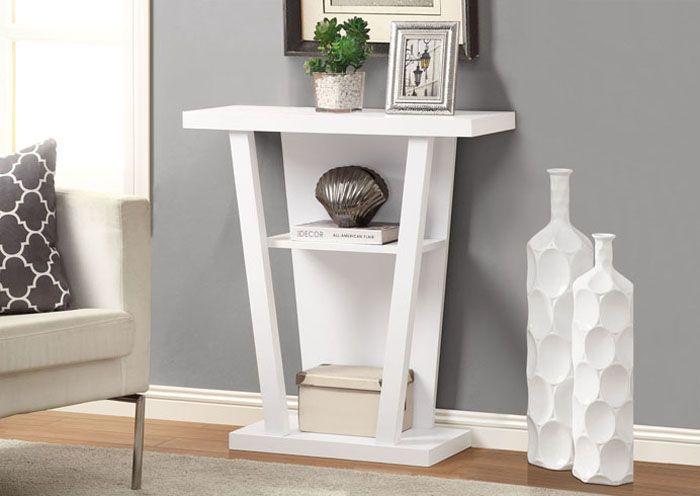 Table Console D Appoint De Couleur Blanc White Finished