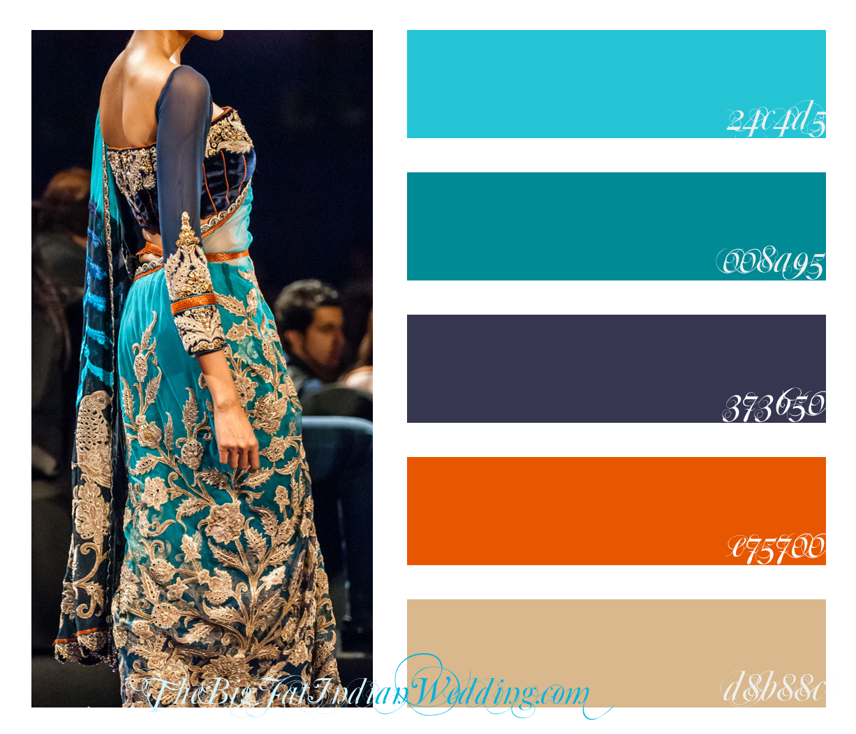 Orange and blue contrasting colour schemes or in this case red orange - Royal Blue Luxurious Orange Lengha Color Palette Monday