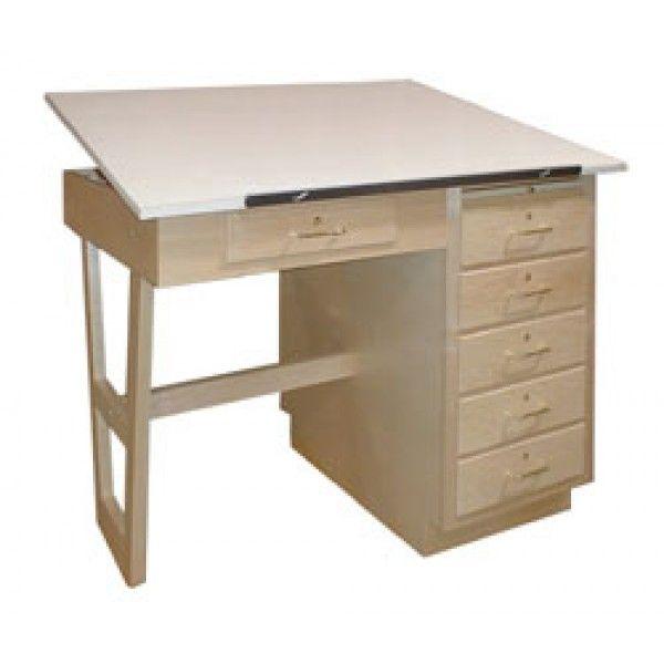 Hann Technical Drafting Table W/ 7 Storage Drawers U0026 Adjustable Top